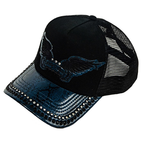 Бейсболка Robin's Jean BLACK TWILL CAP WITH BLUE VISOR AND CRYSTALS