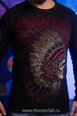 Affliction | Двусторонний мужской пуловер Affliction A226750 принт спереди череп индейца