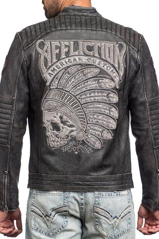 Куртка кожаная Affliction FULL MEASURE JACKET 110OW148 с индейцем вышитым на спине