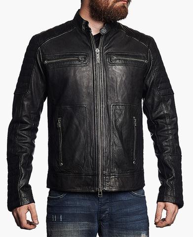 Affliction | Куртка мужская кожаная Easy Rider Jacket 110OW141 перед