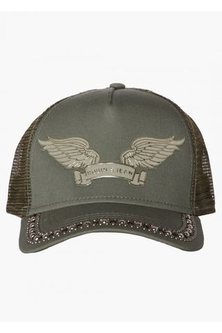Бейсболка Robin's Jean TRUCKER CAP IN OLIVE WITH CRYSTALS