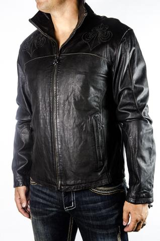 Куртка кожаная Affliction War Leather Jacket Black A884 перед