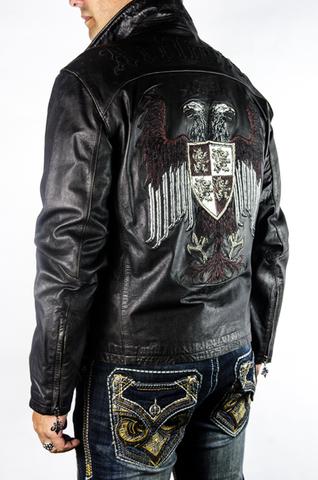 Куртка кожаная Affliction War Leather Jacket Black A884 с гербом левый бок