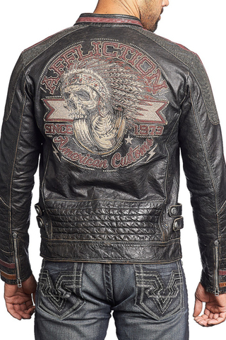 Куртка кожаная Affliction Built for Speed 110OW187 с принтом черепа с колесом на спине