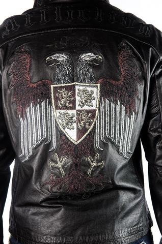 Куртка кожаная Affliction War Leather Jacket Black A884 вышивка на спине двуглавый орёл