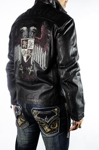 Куртка кожаная Affliction War Leather Jacket Black A884 с гербом правый бок