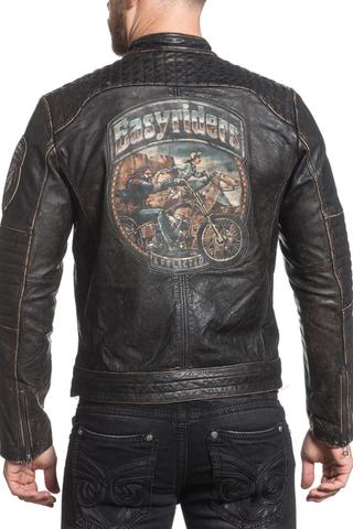 Куртка кожаная Affliction  Ghost Rider 110OW208 с изображением байкера на мотоцикле на спине