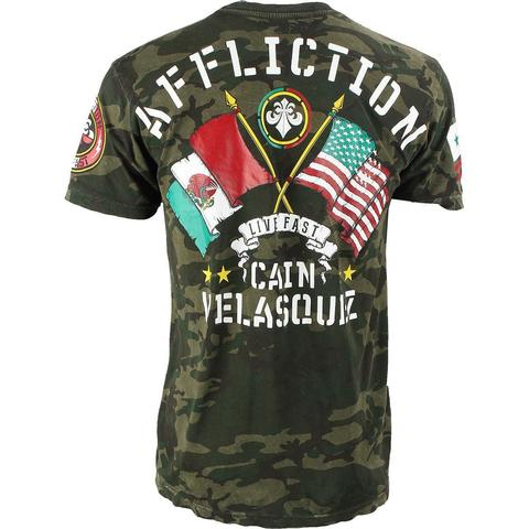 Affliction | Футболка мужская CAIN VELASQUEZ UFC 180 CAMO Walkout Shirt спина
