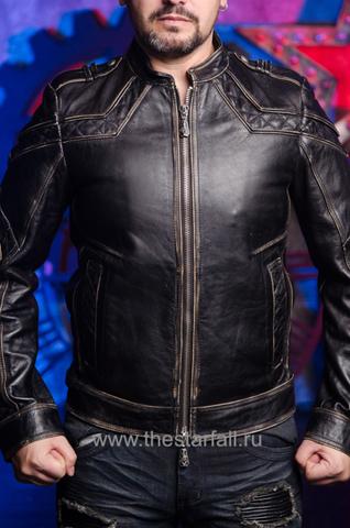 Affliction | Куртка кожаная мужская Gear Up 10OW463B перед на модели