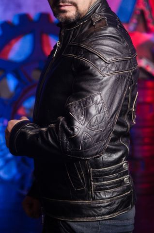 Affliction | Куртка кожаная мужская Gear Up 10OW463B левый бок