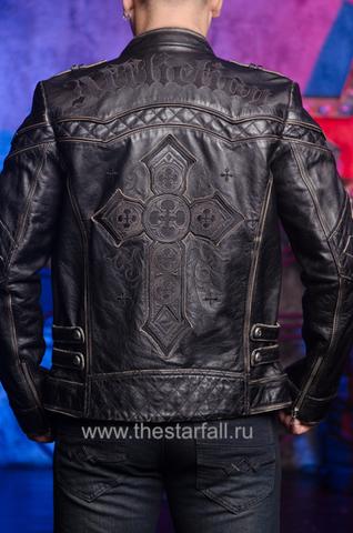 Affliction | Куртка кожаная мужская Gear Up 10OW463B спина на модели
