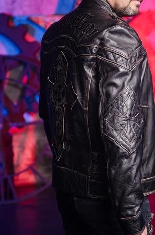 Affliction | Куртка кожаная мужская Gear Up 10OW463B правый бок