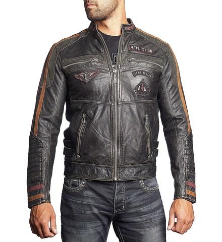 Куртка кожаная Affliction Built for Speed 110OW187 с нашивками перед