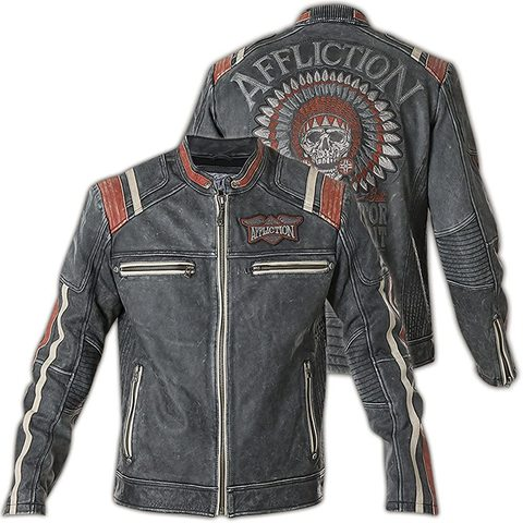 Куртка кожаная Affliction Speed Shop 110OW227 вид с двух сторон