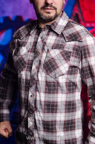 Affliction | Рубашка мужская A252 в клетку с карманами левый бок
