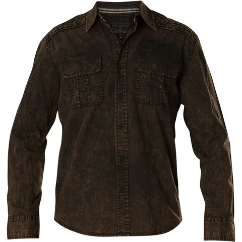 Affliction | Рубашка мужская Replica in Black/Brown 110WV716 коричневая перед