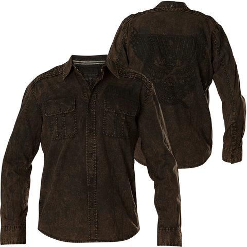 Affliction | Рубашка мужская Replica in Black/Brown 110WV716 хлопковая перед и спина