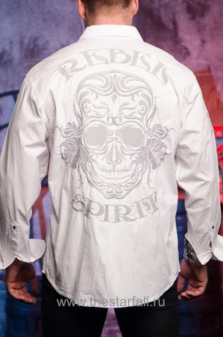 Белая мужская рубашка Rebel Spirit LSW141473 с черепом спина