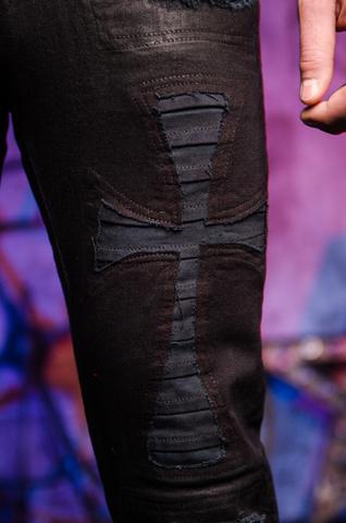 The Saints Sinphony | Мужские джинсы BLACK JESUS PIECE TSG206 аппликация крест спереди