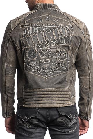 Куртка кожаная Affliction Iron Head Leather Jacket 110OW216 мотостиль спина