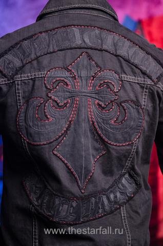 Джинсовая куртка Affliction A39701 аппликация на спине геральдическая лилия