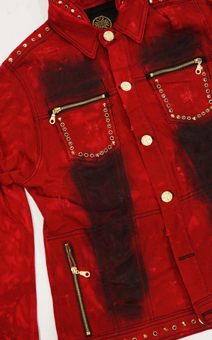 Красная джинсовая куртка The Saints Sinphony OUT FOR BLOOD TSJ004 передний боковой корман
