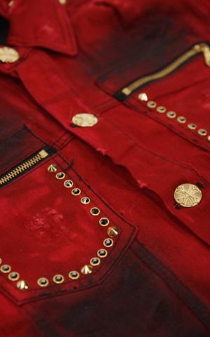 Красная джинсовая куртка The Saints Sinphony OUT FOR BLOOD TSJ004 передний накладной карман