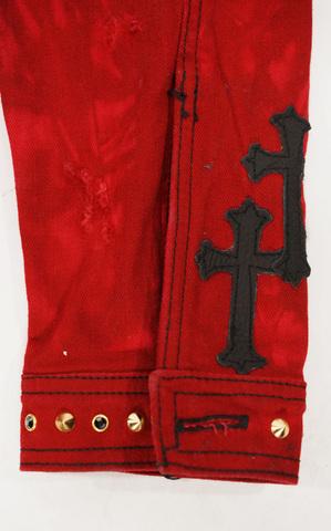 Красная джинсовая куртка The Saints Sinphony OUT FOR BLOOD TSJ004 аппликация на рукаве кресты