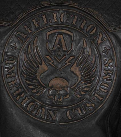 Affliction   Куртка мужская кожаная Breaking Free Jacket 110OW008 принт на спине