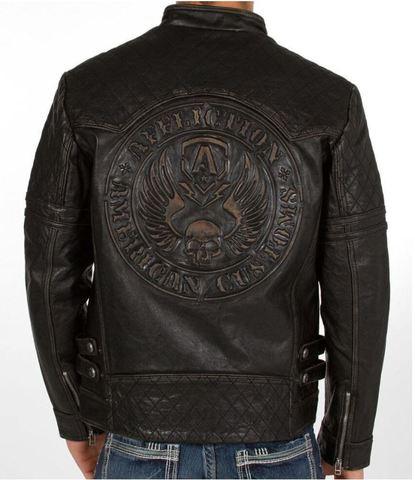 Affliction   Куртка мужская кожаная Breaking Free Jacket 110OW008 спина