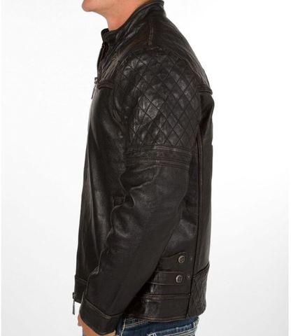 Affliction   Куртка мужская кожаная Breaking Free Jacket 110OW008 левый бок