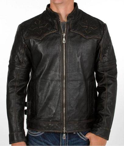 Affliction   Куртка мужская кожаная Breaking Free Jacket 110OW008 перед