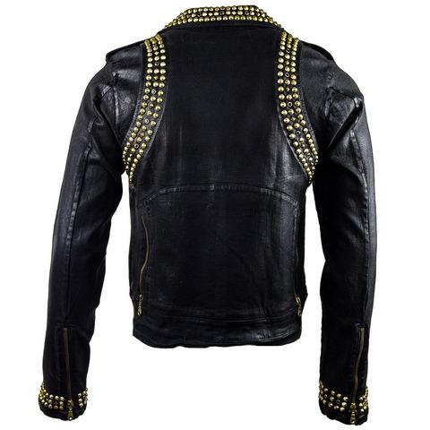 Куртка мужская джинсовая The Saints Sinphony J072 BLACK WAX BIKER JACKET спина