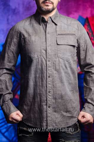 Affliction | Рубашка мужская GRITTY ASH 110WV616 перед на модели