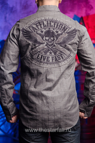 Affliction | Рубашка мужская GRITTY ASH 110WV616 спина на модели