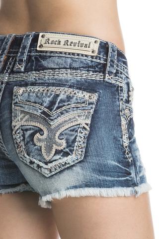 Rock Revival | Шорты женские джинсовые NISHA H201 SHORTS RP9588H201 задний карман