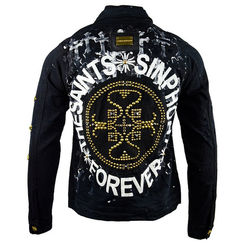 Куртка джинсовая The Saints Sinphony LOGO JACKET CROSS WASH BLACK AND GOLD