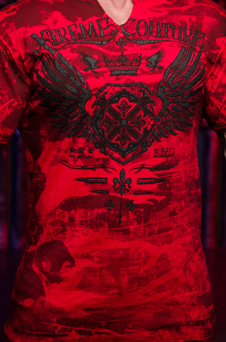 Футболка Xtreme Couture MAGNET от Affliction красная принт спереди