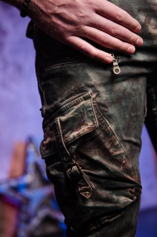 Джинсы Robins Jean Military Green Camo боковой карман детально