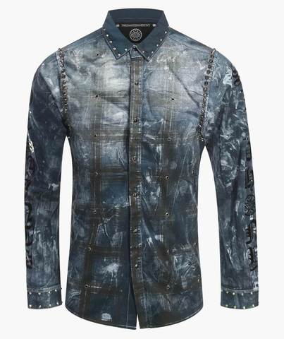 Рубашка The Saints Sinphony DISTRESSED FLANNEL BLUE BUTTON UP