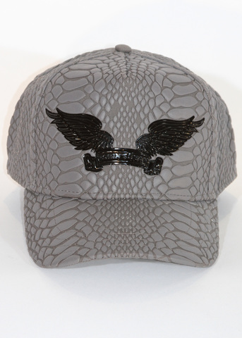 Бейсболка Robin's Jean CRACKLE HAT IN GREY WITH BLACK WINGS