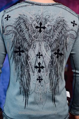 Affliction | Пуловер мужской двусторонний A226810 обратная сторона принт на спине крылья