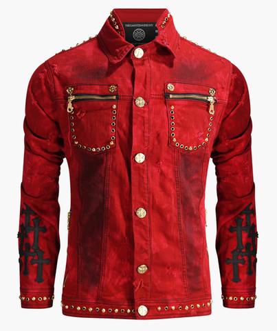 Красная джинсовая куртка The Saints Sinphony OUT FOR BLOOD TSJ004 перед