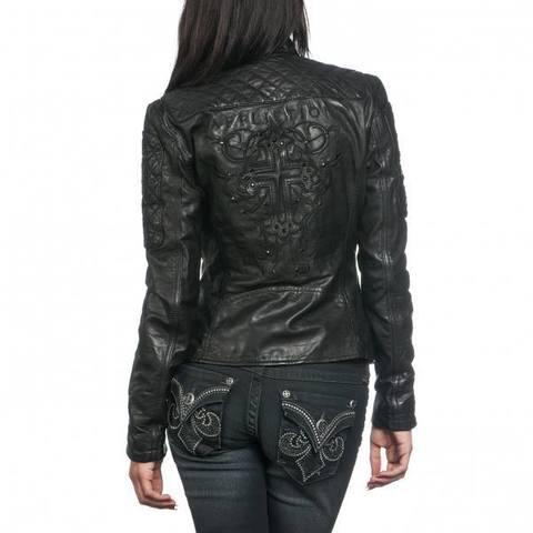 Affliction   Куртка женская кожаная Black Premium Alexis Jacket 111OW024 спина