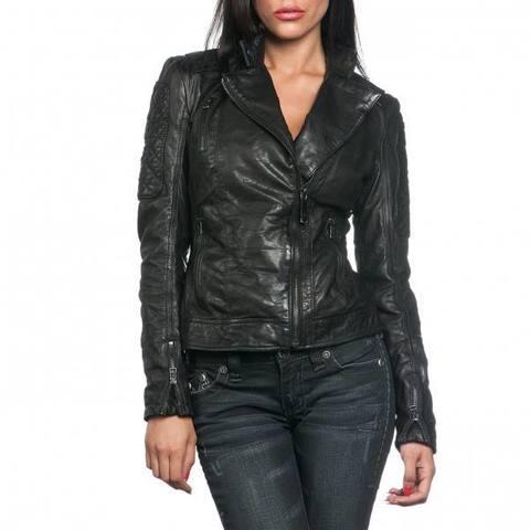 Affliction   Куртка женская кожаная Black Premium Alexis Jacket 111OW024 перед