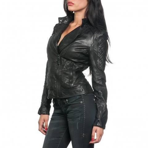 Affliction   Куртка женская кожаная Black Premium Alexis Jacket 111OW024 левый бок