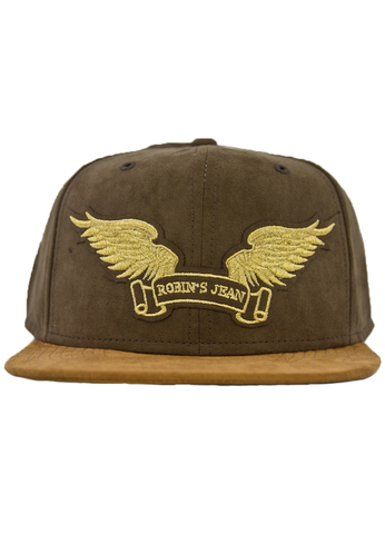 Бейсболка Robin's Jean OLIVE & WHEAT SUEDE CAP GLD WINGS