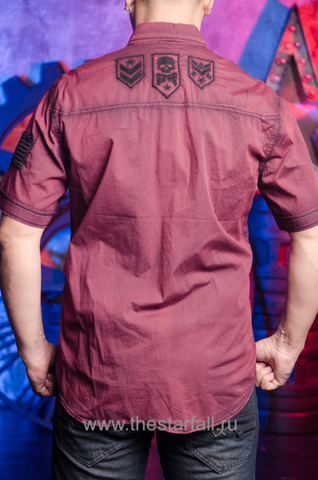 Affliction   Рубашка мужская RUSK 110WV668 бордовая спина