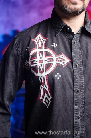 Affliction | Рубашка мужская A3846 принт спереди крест