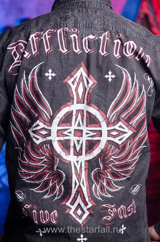 Affliction | Рубашка мужская A3846 принт на спине крест с крыльями